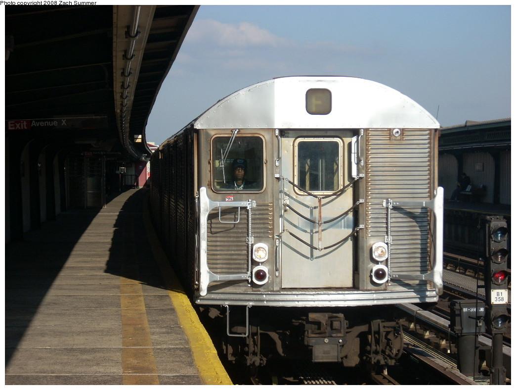(233k, 1044x788)<br><b>Country:</b> United States<br><b>City:</b> New York<br><b>System:</b> New York City Transit<br><b>Line:</b> BMT Culver Line<br><b>Location:</b> Avenue X <br><b>Route:</b> F<br><b>Car:</b> R-32 (Budd, 1964)  3567 <br><b>Photo by:</b> Zach Summer<br><b>Date:</b> 12/20/2007<br><b>Viewed (this week/total):</b> 1 / 1994