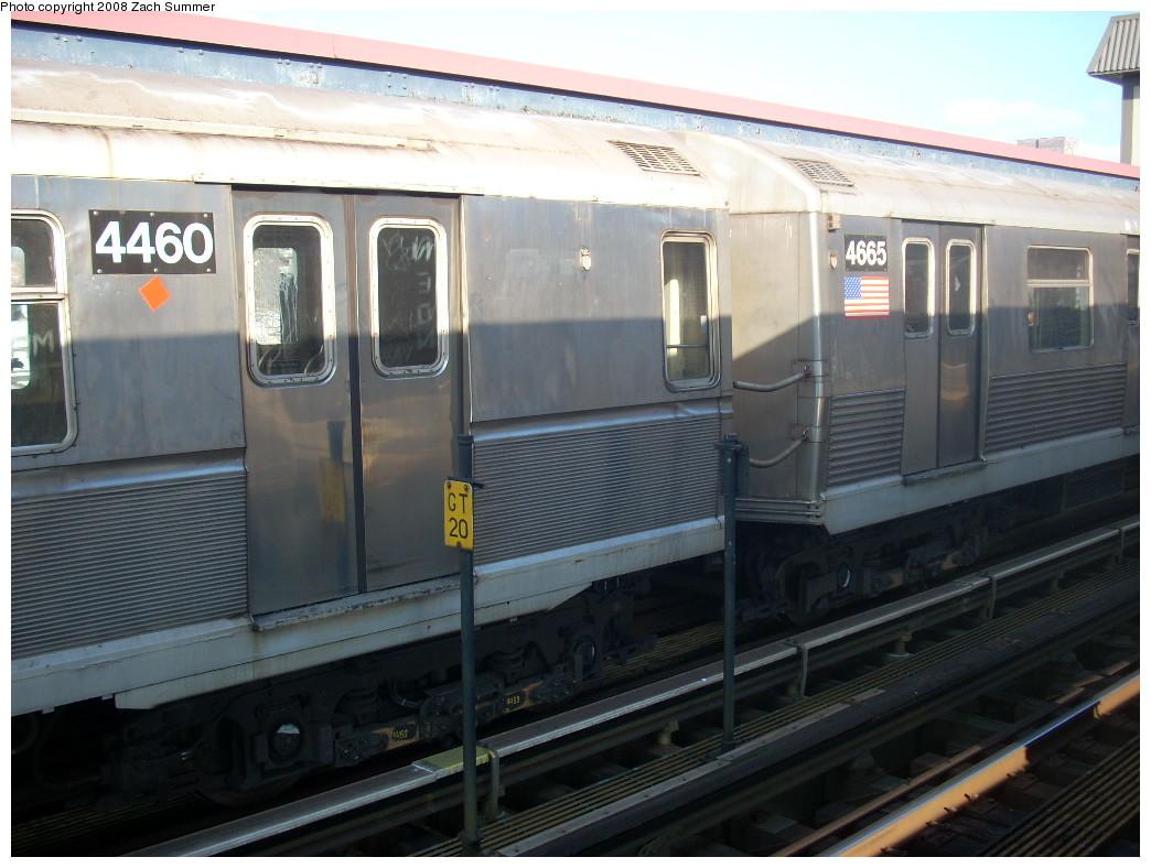 (231k, 1044x788)<br><b>Country:</b> United States<br><b>City:</b> New York<br><b>System:</b> New York City Transit<br><b>Line:</b> BMT Brighton Line<br><b>Location:</b> Brighton Beach <br><b>Route:</b> B<br><b>Car:</b> R-40M (St. Louis, 1969)  4460 <br><b>Photo by:</b> Zach Summer<br><b>Date:</b> 12/20/2007<br><b>Notes:</b> With R42 4665 mismate.<br><b>Viewed (this week/total):</b> 0 / 1536
