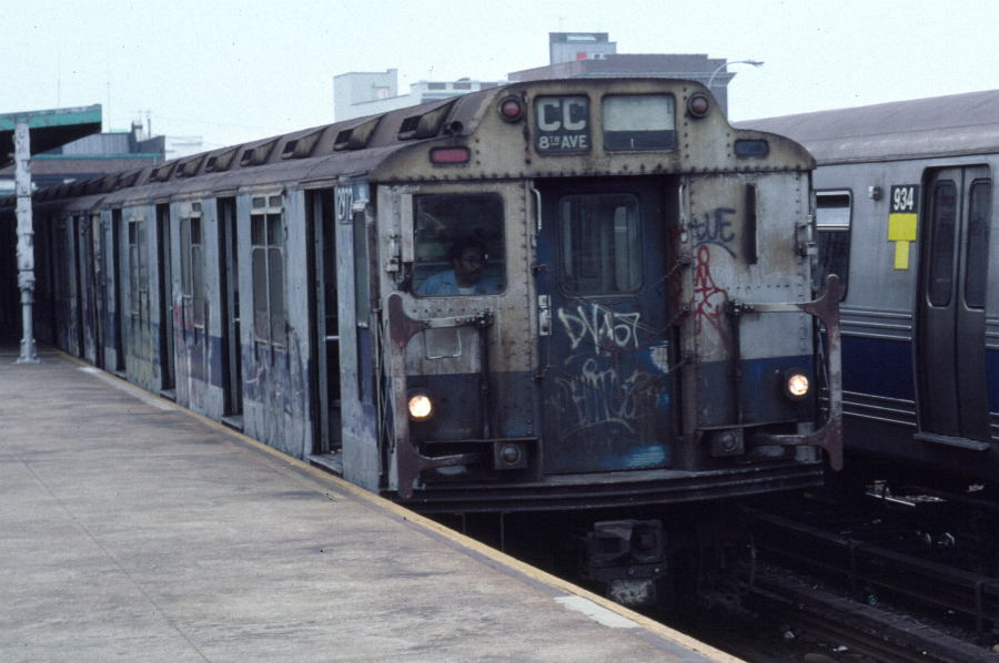 (77k, 900x598)<br><b>Country:</b> United States<br><b>City:</b> New York<br><b>System:</b> New York City Transit<br><b>Line:</b> IND Rockaway<br><b>Location:</b> Rockaway Park/Beach 116th Street <br><b>Route:</b> CC<br><b>Car:</b> R-10 (American Car & Foundry, 1948) 2972 <br><b>Photo by:</b> Robert Callahan<br><b>Date:</b> 8/30/1980<br><b>Viewed (this week/total):</b> 1 / 2291