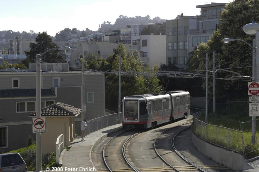(167k, 864x574)<br><b>Country:</b> United States<br><b>City:</b> San Francisco/Bay Area, CA<br><b>System:</b> SF MUNI<br><b>Line:</b> MUNI Metro (J-Church)<br><b>Location:</b> 21st St <br><b>Car:</b> SF MUNI Breda LRV 1443 <br><b>Photo by:</b> Peter Ehrlich<br><b>Date:</b> 3/8/2008<br><b>Notes:</b> J-Line PRW/21st Street inbound.<br><b>Viewed (this week/total):</b> 0 / 775