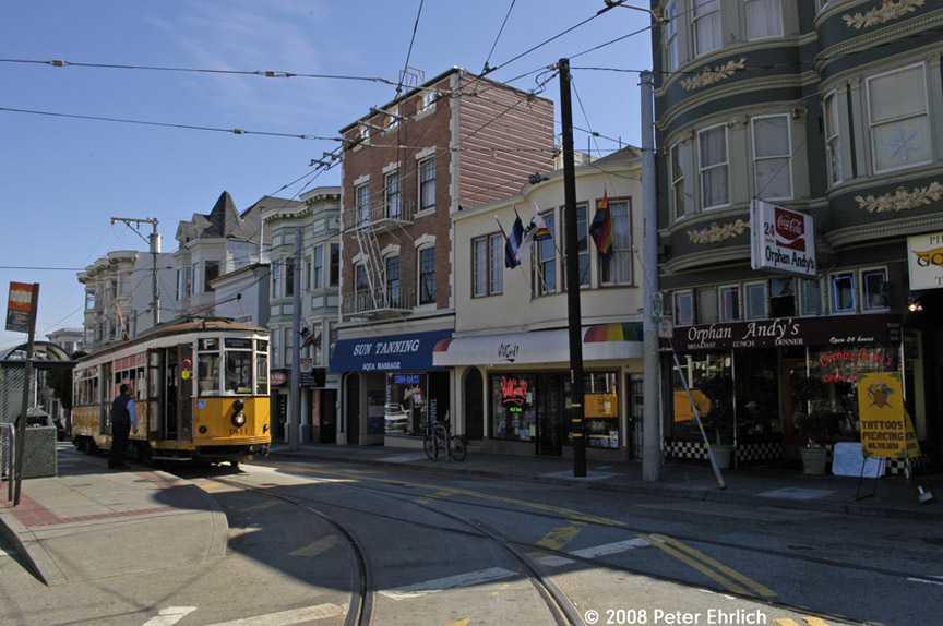 (189k, 864x574)<br><b>Country:</b> United States<br><b>City:</b> San Francisco/Bay Area, CA<br><b>System:</b> SF MUNI<br><b>Location:</b> Market/17th/Castro <br><b>Car:</b> Milan Milano/Peter Witt (1927-1930)  1811 <br><b>Photo by:</b> Peter Ehrlich<br><b>Date:</b> 3/8/2008<br><b>Notes:</b> 17th Street/Castro Terminal.<br><b>Viewed (this week/total):</b> 2 / 539
