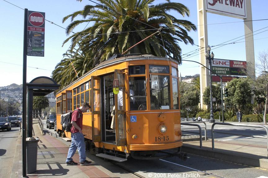 (236k, 864x574)<br><b>Country:</b> United States<br><b>City:</b> San Francisco/Bay Area, CA<br><b>System:</b> SF MUNI<br><b>Location:</b> Market/Dolores <br><b>Car:</b> Milan Milano/Peter Witt (1927-1930)  1815 <br><b>Photo by:</b> Peter Ehrlich<br><b>Date:</b> 3/8/2008<br><b>Notes:</b> Market/Dolores inbound.<br><b>Viewed (this week/total):</b> 0 / 447