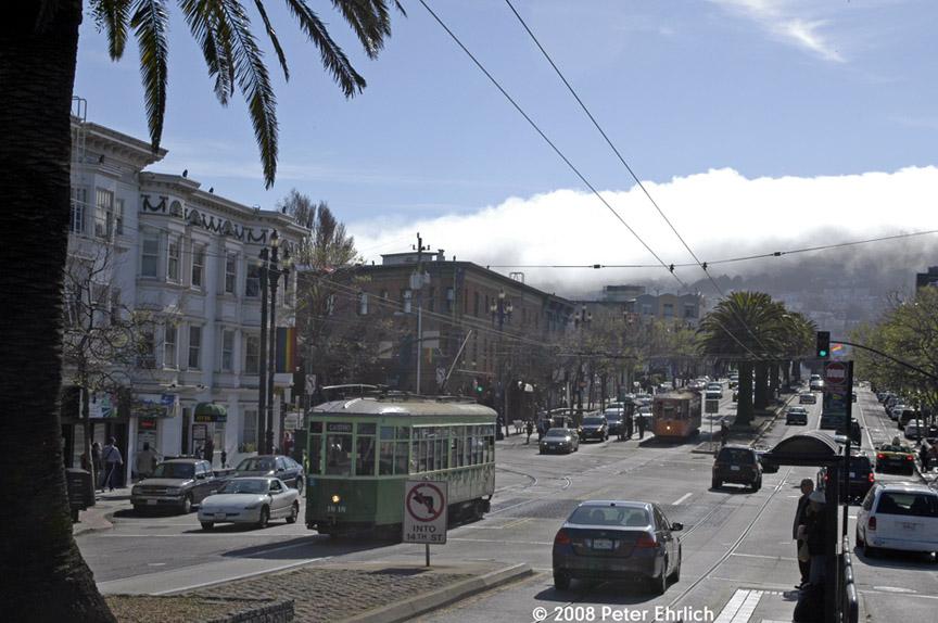 (176k, 864x574)<br><b>Country:</b> United States<br><b>City:</b> San Francisco/Bay Area, CA<br><b>System:</b> SF MUNI<br><b>Location:</b> Market/Church/14th <br><b>Car:</b> Milan Milano/Peter Witt (1927-1930)  1818 <br><b>Photo by:</b> Peter Ehrlich<br><b>Date:</b> 3/8/2008<br><b>Notes:</b> Market/Church inbound.  With 1807 (Milan) behind, across street.<br><b>Viewed (this week/total):</b> 0 / 508