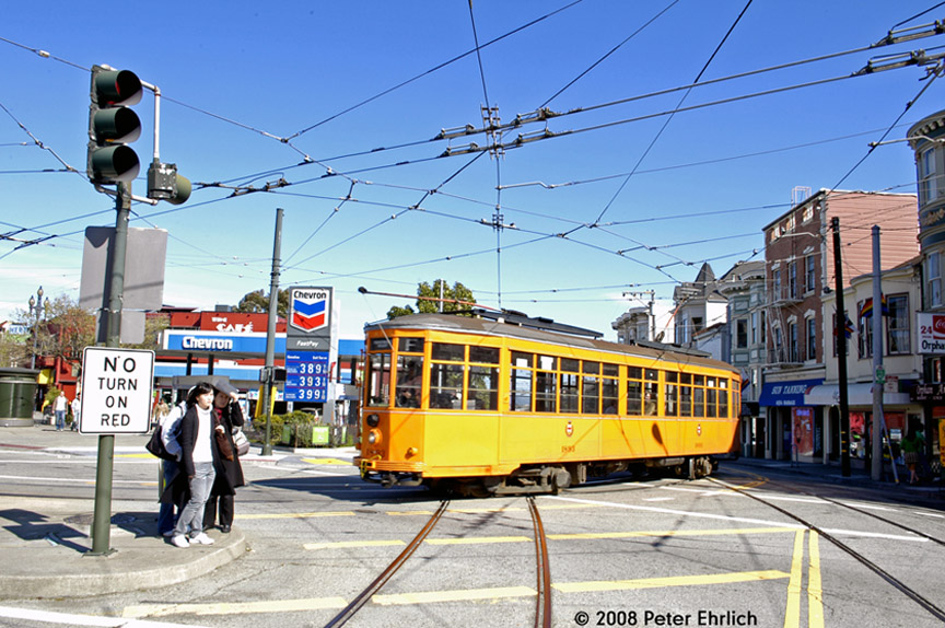 (225k, 864x574)<br><b>Country:</b> United States<br><b>City:</b> San Francisco/Bay Area, CA<br><b>System:</b> SF MUNI<br><b>Location:</b> Market/17th/Castro <br><b>Car:</b> Milan Milano/Peter Witt (1927-1930)  1893 <br><b>Photo by:</b> Peter Ehrlich<br><b>Date:</b> 3/8/2008<br><b>Notes:</b> Leaving 17th Street/Castro Terminal.<br><b>Viewed (this week/total):</b> 0 / 525