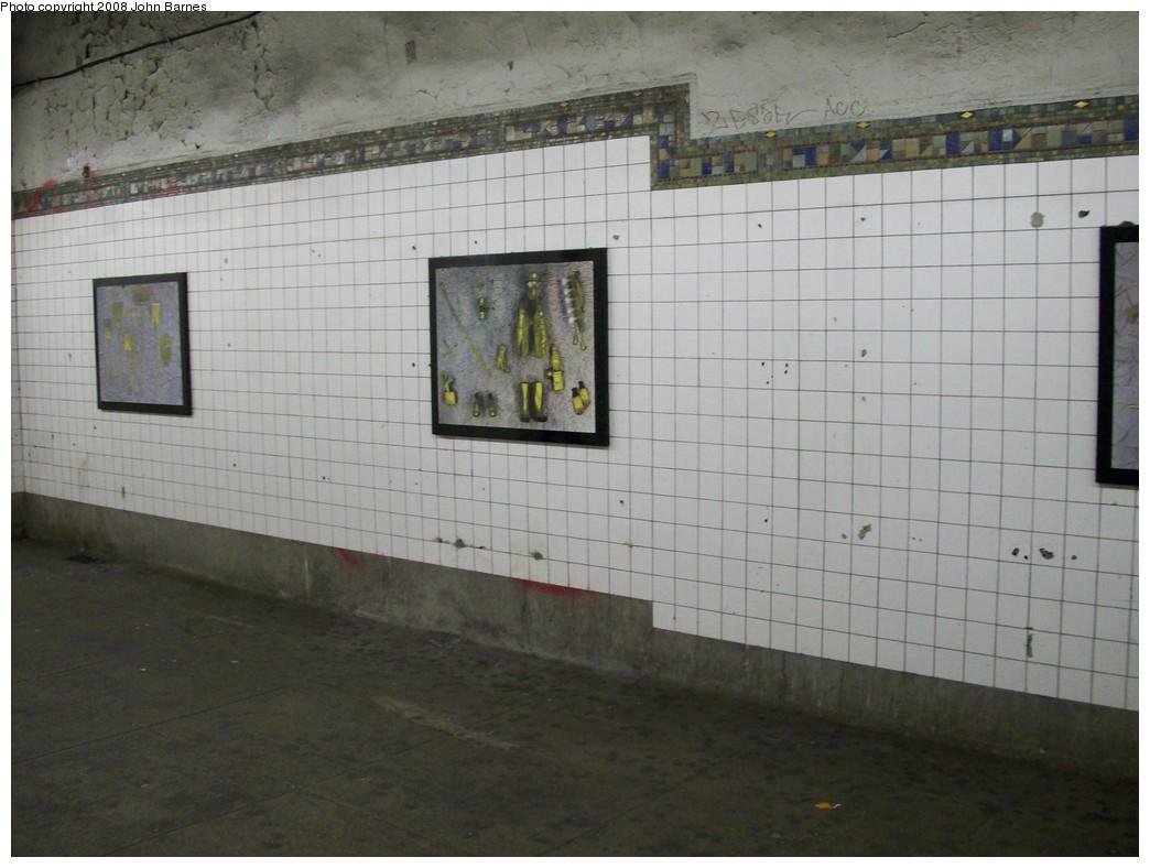 (186k, 1044x788)<br><b>Country:</b> United States<br><b>City:</b> New York<br><b>System:</b> New York City Transit<br><b>Line:</b> BMT Canarsie Line<br><b>Location:</b> 6th Avenue <br><b>Photo by:</b> John Barnes<br><b>Date:</b> 3/12/2008<br><b>Artwork:</b> <i>MTA Jewels</i>, Jennifer Kotter (1993).<br><b>Viewed (this week/total):</b> 0 / 1428