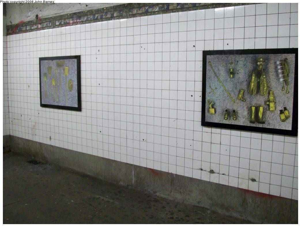 (188k, 1044x788)<br><b>Country:</b> United States<br><b>City:</b> New York<br><b>System:</b> New York City Transit<br><b>Line:</b> BMT Canarsie Line<br><b>Location:</b> 6th Avenue <br><b>Photo by:</b> John Barnes<br><b>Date:</b> 3/12/2008<br><b>Artwork:</b> <i>MTA Jewels</i>, Jennifer Kotter (1993).<br><b>Viewed (this week/total):</b> 0 / 1281