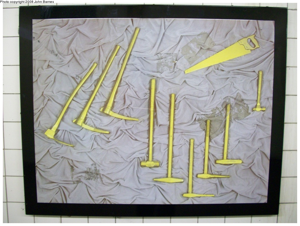(187k, 1044x788)<br><b>Country:</b> United States<br><b>City:</b> New York<br><b>System:</b> New York City Transit<br><b>Line:</b> BMT Canarsie Line<br><b>Location:</b> 6th Avenue <br><b>Photo by:</b> John Barnes<br><b>Date:</b> 3/12/2008<br><b>Artwork:</b> <i>MTA Jewels</i>, Jennifer Kotter (1993).<br><b>Viewed (this week/total):</b> 0 / 1537