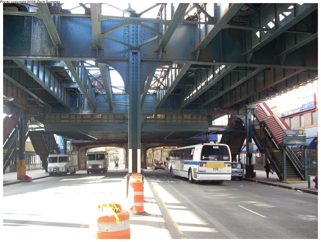 (277k, 1044x788)<br><b>Country:</b> United States<br><b>City:</b> New York<br><b>System:</b> New York City Transit<br><b>Line:</b> BMT Brighton Line<br><b>Location:</b> Ocean Parkway <br><b>Photo by:</b> Zach Summer<br><b>Date:</b> 12/24/2007<br><b>Notes:</b> Under the el at Ocean Parkway station.<br><b>Viewed (this week/total):</b> 0 / 2516