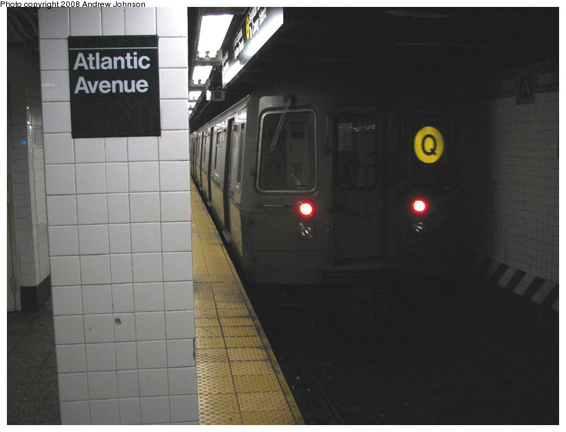 (124k, 820x626)<br><b>Country:</b> United States<br><b>City:</b> New York<br><b>System:</b> New York City Transit<br><b>Line:</b> BMT Brighton Line<br><b>Location:</b> Atlantic Avenue <br><b>Route:</b> Q<br><b>Car:</b> R-68A (Kawasaki, 1988-1989)   <br><b>Photo by:</b> Andrew Johnson<br><b>Date:</b> 3/4/2008<br><b>Viewed (this week/total):</b> 0 / 2553