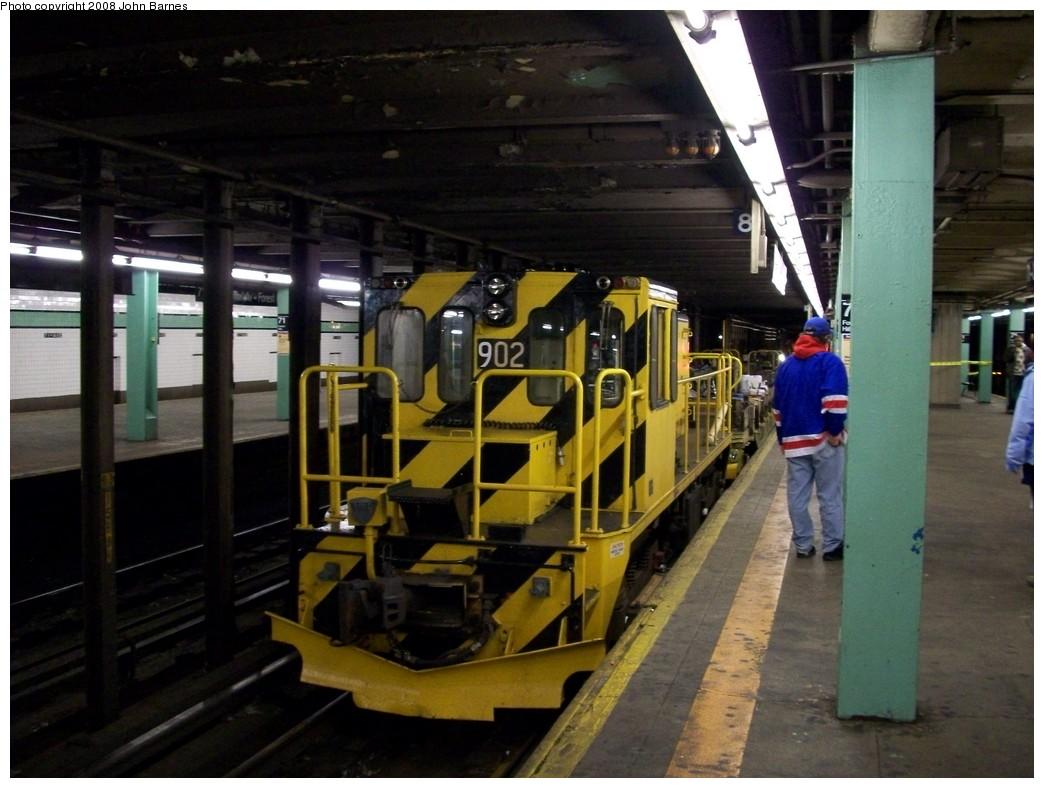 (200k, 1044x788)<br><b>Country:</b> United States<br><b>City:</b> New York<br><b>System:</b> New York City Transit<br><b>Line:</b> IND Queens Boulevard Line<br><b>Location:</b> 71st/Continental Aves./Forest Hills <br><b>Route:</b> Work Service<br><b>Car:</b> R-77 Locomotive  902 <br><b>Photo by:</b> John Barnes<br><b>Date:</b> 3/9/2008<br><b>Viewed (this week/total):</b> 0 / 1526
