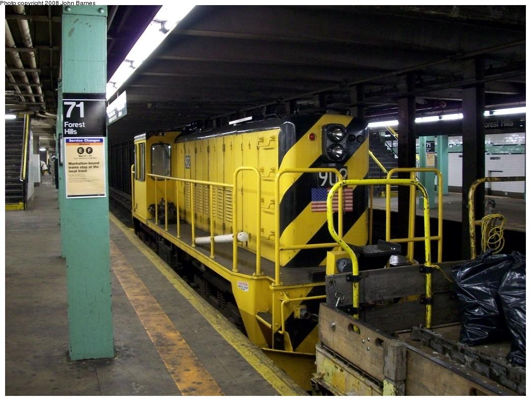 (227k, 1044x788)<br><b>Country:</b> United States<br><b>City:</b> New York<br><b>System:</b> New York City Transit<br><b>Line:</b> IND Queens Boulevard Line<br><b>Location:</b> 71st/Continental Aves./Forest Hills <br><b>Route:</b> Work Service<br><b>Car:</b> R-77 Locomotive  902 <br><b>Photo by:</b> John Barnes<br><b>Date:</b> 3/9/2008<br><b>Viewed (this week/total):</b> 0 / 1368