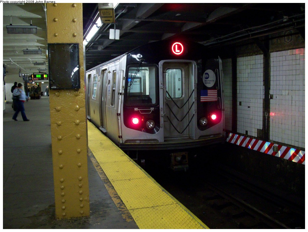(198k, 1044x788)<br><b>Country:</b> United States<br><b>City:</b> New York<br><b>System:</b> New York City Transit<br><b>Line:</b> BMT Canarsie Line<br><b>Location:</b> 6th Avenue <br><b>Route:</b> L<br><b>Car:</b> R-143 (Kawasaki, 2001-2002) 8156 <br><b>Photo by:</b> John Barnes<br><b>Date:</b> 3/12/2008<br><b>Viewed (this week/total):</b> 1 / 1838