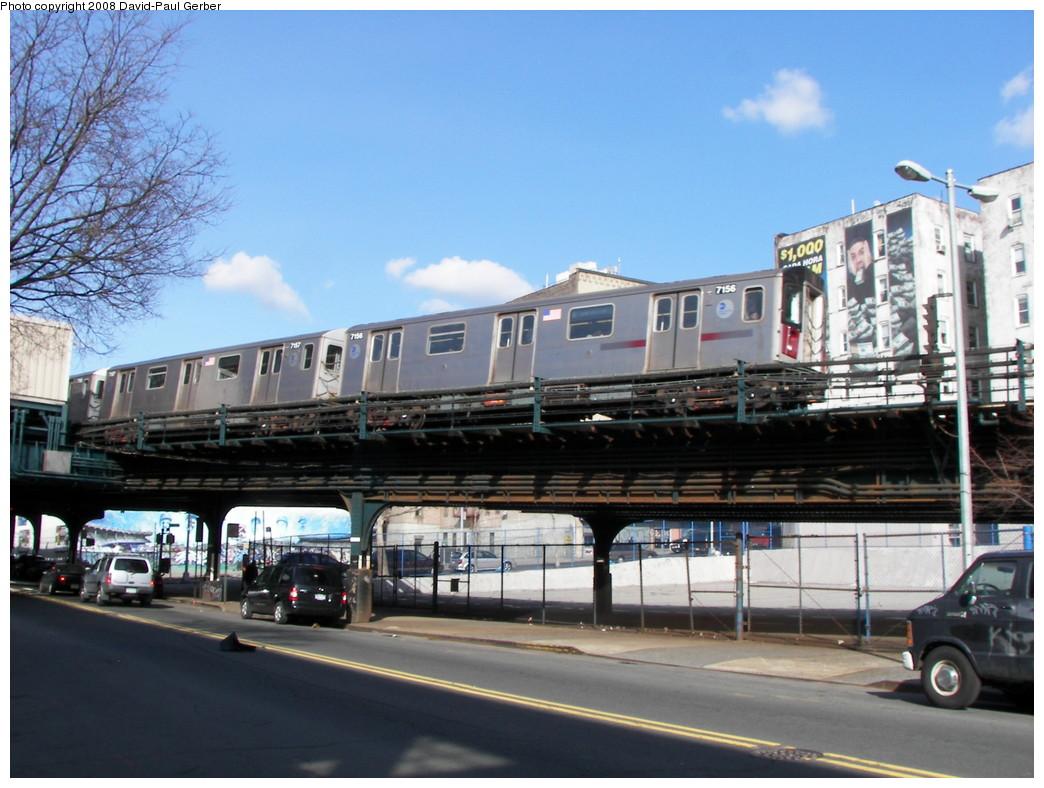 (268k, 1044x788)<br><b>Country:</b> United States<br><b>City:</b> New York<br><b>System:</b> New York City Transit<br><b>Line:</b> IRT Woodlawn Line<br><b>Location:</b> 161st Street/River Avenue (Yankee Stadium) <br><b>Route:</b> 4<br><b>Car:</b> R-142 (Option Order, Bombardier, 2002-2003)  7156 <br><b>Photo by:</b> David-Paul Gerber<br><b>Date:</b> 3/15/2008<br><b>Viewed (this week/total):</b> 0 / 2629