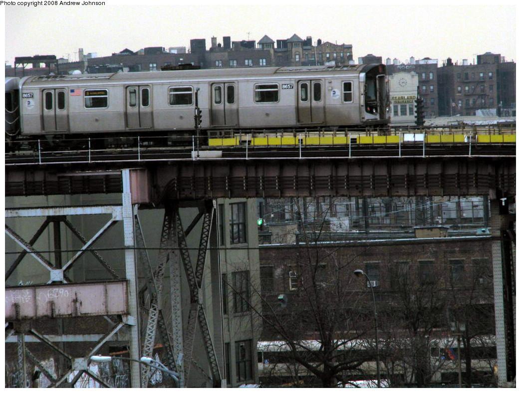 (293k, 1044x788)<br><b>Country:</b> United States<br><b>City:</b> New York<br><b>System:</b> New York City Transit<br><b>Line:</b> BMT Astoria Line<br><b>Location:</b> Queensborough Plaza <br><b>Route:</b> N<br><b>Car:</b> R-160A-2 (Alstom, 2005-2008, 5 car sets)  8657 <br><b>Photo by:</b> Andrew Johnson<br><b>Date:</b> 3/14/2008<br><b>Viewed (this week/total):</b> 1 / 2543