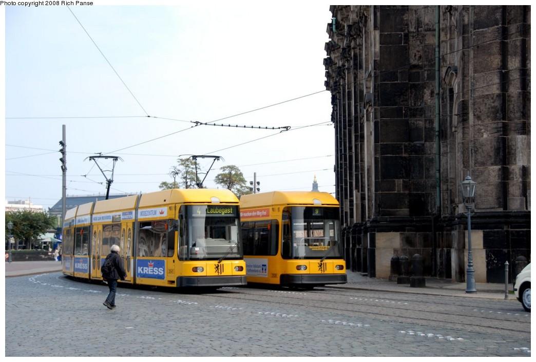 (166k, 1044x706)<br><b>Country:</b> Germany<br><b>City:</b> Dresden<br><b>System:</b> DVB (Dresdner Verkehrsbetriebe)<br><b>Route:</b> 4<br><b>Car:</b> Bombardier NGT8DD  2700/2800-series 2803 <br><b>Photo by:</b> Richard Panse<br><b>Date:</b> 10/10/2007<br><b>Viewed (this week/total):</b> 1 / 460