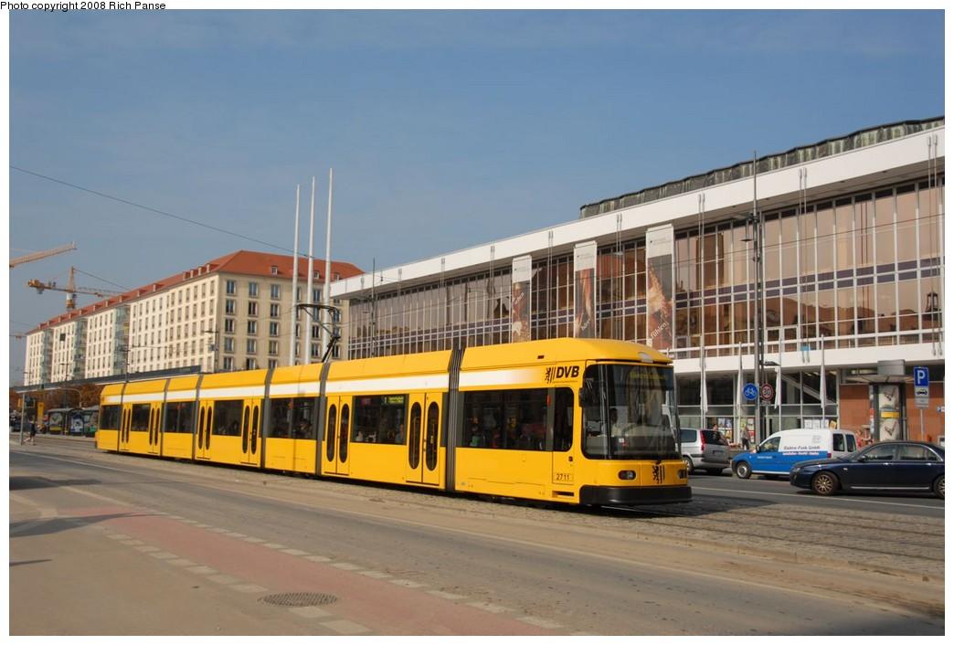 (188k, 1044x706)<br><b>Country:</b> Germany<br><b>City:</b> Dresden<br><b>System:</b> DVB (Dresdner Verkehrsbetriebe)<br><b>Location:</b> Altmarkt <br><b>Route:</b> 1<br><b>Car:</b> Bombardier NGT8DD  2700/2800-series 2711 <br><b>Photo by:</b> Richard Panse<br><b>Date:</b> 10/10/2007<br><b>Viewed (this week/total):</b> 1 / 460