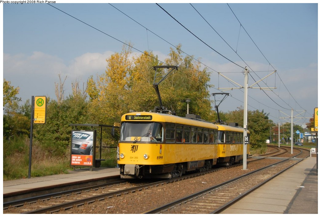 (216k, 1044x706)<br><b>Country:</b> Germany<br><b>City:</b> Dresden<br><b>System:</b> DVB (Dresdner Verkehrsbetriebe)<br><b>Location:</b> Hellersiedlung <br><b>Route:</b> 8<br><b>Car:</b> Tatra T4DMT PCC  224-series 224255 <br><b>Photo by:</b> Richard Panse<br><b>Date:</b> 10/10/2007<br><b>Viewed (this week/total):</b> 7 / 590