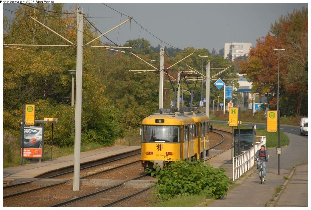 (247k, 1044x706)<br><b>Country:</b> Germany<br><b>City:</b> Dresden<br><b>System:</b> DVB (Dresdner Verkehrsbetriebe)<br><b>Location:</b> Hellersiedlung <br><b>Route:</b> 8<br><b>Car:</b> Tatra TB4D PCC  244-series 244044 <br><b>Photo by:</b> Richard Panse<br><b>Date:</b> 10/10/2007<br><b>Viewed (this week/total):</b> 2 / 549