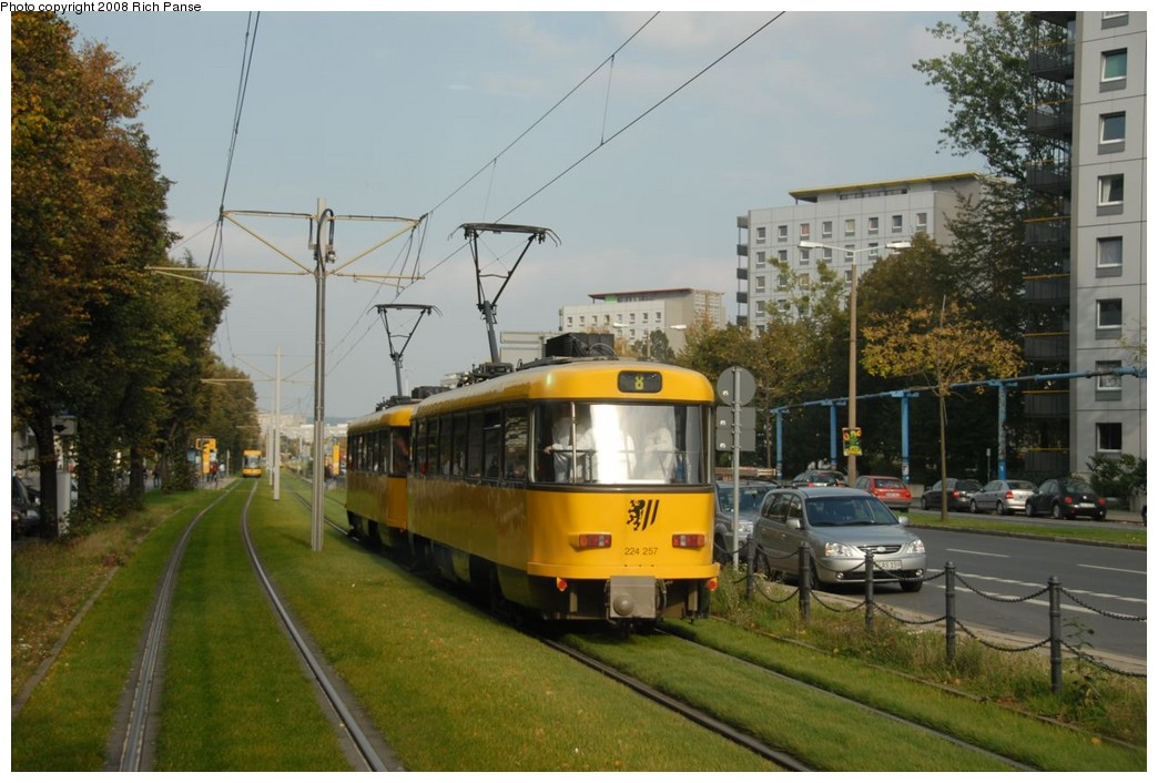 (208k, 1044x706)<br><b>Country:</b> Germany<br><b>City:</b> Dresden<br><b>System:</b> DVB (Dresdner Verkehrsbetriebe)<br><b>Location:</b> Walpurgisstrasse <br><b>Route:</b> 8<br><b>Car:</b> Tatra T4DMT PCC  224-series 224257 <br><b>Photo by:</b> Richard Panse<br><b>Date:</b> 10/10/2007<br><b>Viewed (this week/total):</b> 0 / 727