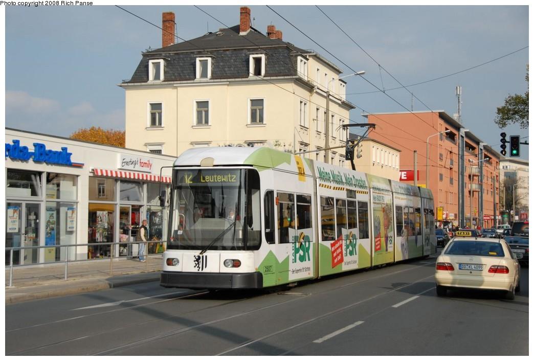 (200k, 1044x706)<br><b>Country:</b> Germany<br><b>City:</b> Dresden<br><b>System:</b> DVB (Dresdner Verkehrsbetriebe)<br><b>Location:</b> Tharandter Strasse <br><b>Route:</b> 12<br><b>Car:</b> Siemens/AdTranz NGT6DD  2500-series 2507 <br><b>Photo by:</b> Richard Panse<br><b>Date:</b> 10/10/2007<br><b>Viewed (this week/total):</b> 3 / 525