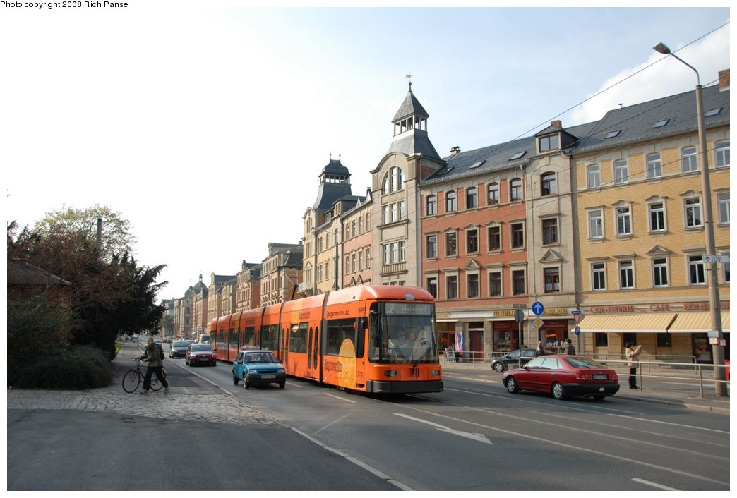 (192k, 1044x706)<br><b>Country:</b> Germany<br><b>City:</b> Dresden<br><b>System:</b> DVB (Dresdner Verkehrsbetriebe)<br><b>Location:</b> Tharandter Strasse <br><b>Route:</b> 7<br><b>Car:</b> Bombardier NGT8DD  2700/2800-series 2710 <br><b>Photo by:</b> Richard Panse<br><b>Date:</b> 10/10/2007<br><b>Viewed (this week/total):</b> 0 / 438