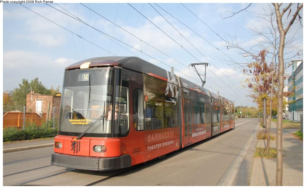 (169k, 1044x644)<br><b>Country:</b> Germany<br><b>City:</b> Dresden<br><b>System:</b> DVB (Dresdner Verkehrsbetriebe)<br><b>Location:</b> Rosen Strasse <br><b>Route:</b> 7<br><b>Car:</b> Siemens/AdTranz NGT6DD  2500-series 2520 <br><b>Photo by:</b> Richard Panse<br><b>Date:</b> 10/10/2007<br><b>Viewed (this week/total):</b> 1 / 469