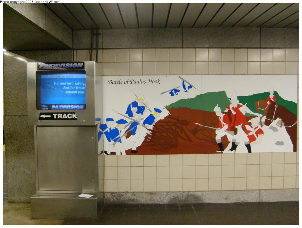 (247k, 1044x788)<br><b>Country:</b> United States<br><b>City:</b> Jersey City, NJ<br><b>System:</b> PATH<br><b>Location:</b> Exchange Place <br><b>Photo by:</b> Leonard Wilson<br><b>Date:</b> 2/25/2008<br><b>Notes:</b> Artwork at Exchange Place- Battle of Paulus Hook<br><b>Viewed (this week/total):</b> 0 / 1889