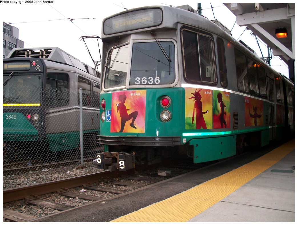 (245k, 1044x788)<br><b>Country:</b> United States<br><b>City:</b> Boston, MA<br><b>System:</b> MBTA<br><b>Line:</b> MBTA Green <br><b>Location:</b> Lechmere <br><b>Car:</b> MBTA Type 7 LRV (Kinki-Sharyo, 1986-87)  3636 <br><b>Photo by:</b> John Barnes<br><b>Date:</b> 2/12/2008<br><b>Viewed (this week/total):</b> 0 / 1332