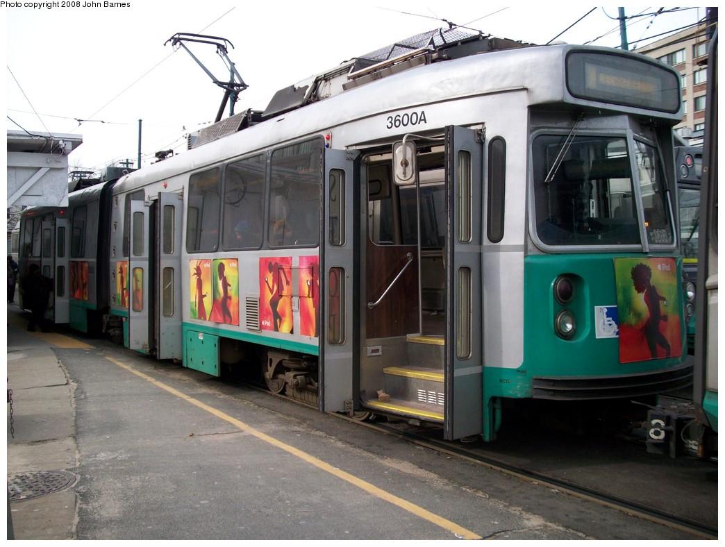 (215k, 1044x788)<br><b>Country:</b> United States<br><b>City:</b> Boston, MA<br><b>System:</b> MBTA<br><b>Line:</b> MBTA Green <br><b>Location:</b> Lechmere <br><b>Car:</b> MBTA Type 7 LRV (Kinki-Sharyo, 1986-87)  3600 <br><b>Photo by:</b> John Barnes<br><b>Date:</b> 2/12/2008<br><b>Viewed (this week/total):</b> 2 / 2039