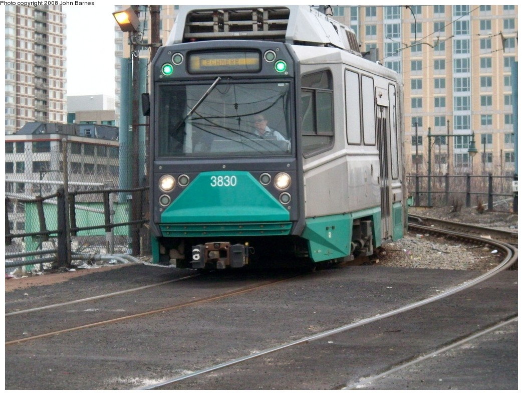 (234k, 1044x788)<br><b>Country:</b> United States<br><b>City:</b> Boston, MA<br><b>System:</b> MBTA<br><b>Line:</b> MBTA Green <br><b>Location:</b> Lechmere <br><b>Car:</b> MBTA Type 8 LRV (Breda, 1998-2006)  3830 <br><b>Photo by:</b> John Barnes<br><b>Date:</b> 2/12/2008<br><b>Viewed (this week/total):</b> 3 / 1920