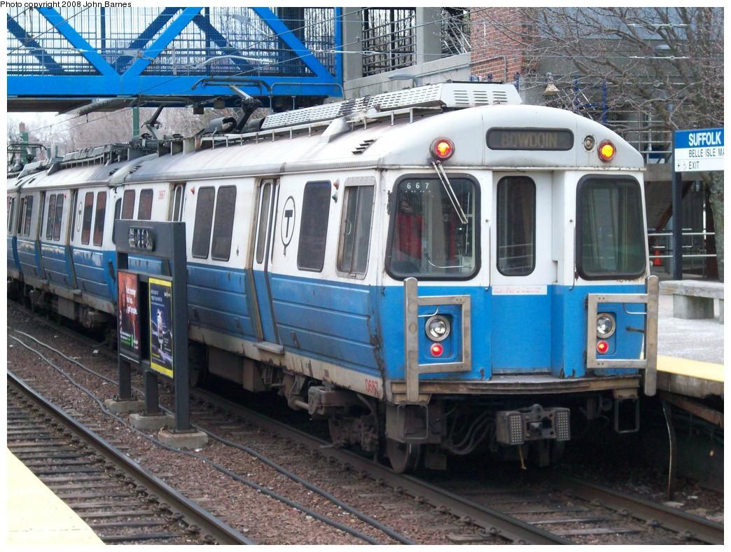 (274k, 1044x788)<br><b>Country:</b> United States<br><b>City:</b> Boston, MA<br><b>System:</b> MBTA<br><b>Line:</b> MBTA Blue Line<br><b>Location:</b> Suffolk Downs <br><b>Car:</b> MBTA 0600 Series (Hawker-Siddley, 1978-1980)  0667 <br><b>Photo by:</b> John Barnes<br><b>Date:</b> 2/12/2008<br><b>Viewed (this week/total):</b> 3 / 994