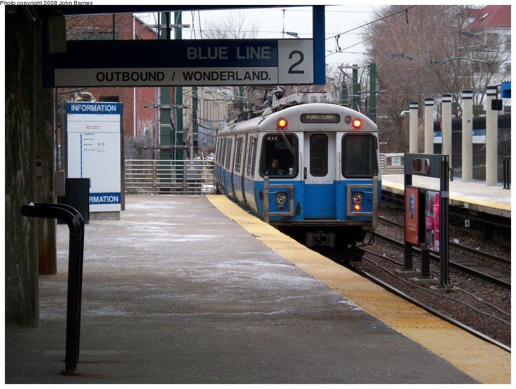 (244k, 1044x788)<br><b>Country:</b> United States<br><b>City:</b> Boston, MA<br><b>System:</b> MBTA<br><b>Line:</b> MBTA Blue Line<br><b>Location:</b> Suffolk Downs <br><b>Car:</b> MBTA 0600 Series (Hawker-Siddley, 1978-1980)  0602 <br><b>Photo by:</b> John Barnes<br><b>Date:</b> 2/12/2008<br><b>Viewed (this week/total):</b> 2 / 942