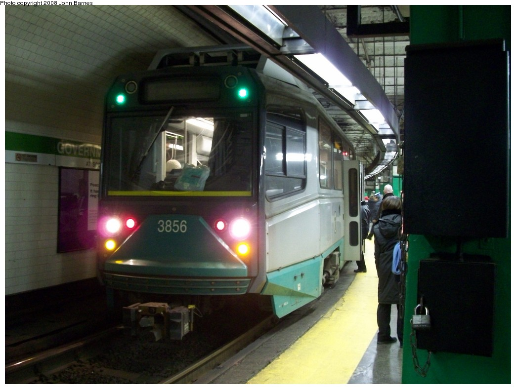 (179k, 1044x788)<br><b>Country:</b> United States<br><b>City:</b> Boston, MA<br><b>System:</b> MBTA<br><b>Line:</b> MBTA Green <br><b>Location:</b> Government Center <br><b>Car:</b> MBTA Type 8 LRV (Breda, 1998-2006)  3856 <br><b>Photo by:</b> John Barnes<br><b>Date:</b> 2/12/2008<br><b>Viewed (this week/total):</b> 0 / 1641