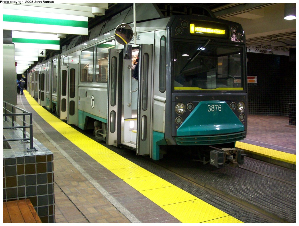 (225k, 1044x788)<br><b>Country:</b> United States<br><b>City:</b> Boston, MA<br><b>System:</b> MBTA<br><b>Line:</b> MBTA Green <br><b>Location:</b> Park Street <br><b>Car:</b> MBTA Type 8 LRV (Breda, 1998-2006)  3876 <br><b>Photo by:</b> John Barnes<br><b>Date:</b> 2/12/2008<br><b>Viewed (this week/total):</b> 0 / 2150