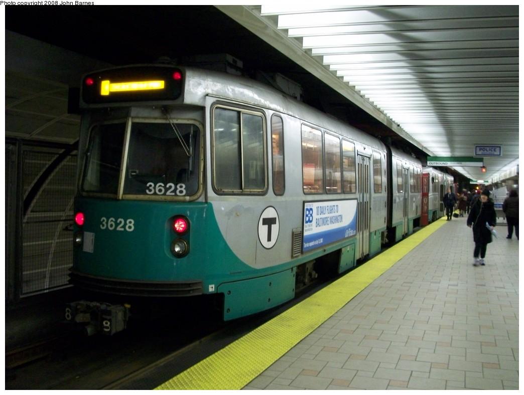 (186k, 1044x788)<br><b>Country:</b> United States<br><b>City:</b> Boston, MA<br><b>System:</b> MBTA<br><b>Line:</b> MBTA Green <br><b>Location:</b> North Station (New Subway) <br><b>Car:</b> MBTA Type 7 LRV (Kinki-Sharyo, 1986-87)  3628 <br><b>Photo by:</b> John Barnes<br><b>Date:</b> 2/12/2008<br><b>Viewed (this week/total):</b> 1 / 1599