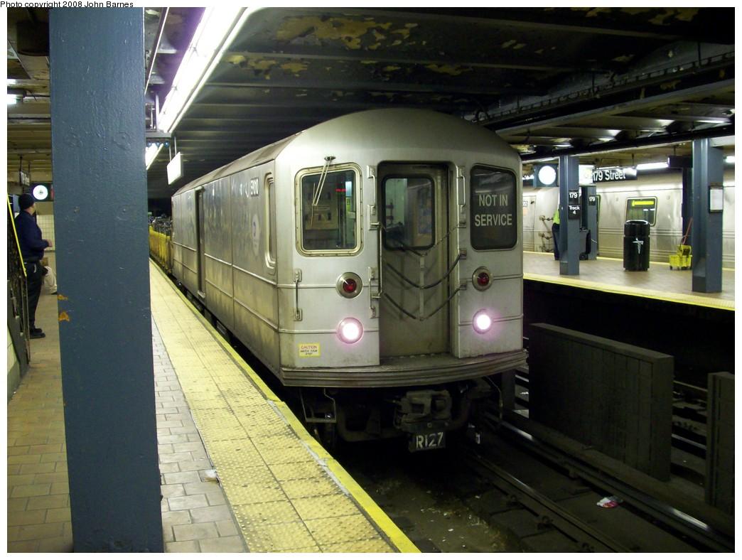 (211k, 1044x788)<br><b>Country:</b> United States<br><b>City:</b> New York<br><b>System:</b> New York City Transit<br><b>Line:</b> IND Queens Boulevard Line<br><b>Location:</b> 179th Street <br><b>Route:</b> Work Service<br><b>Car:</b> R-127/R-134 (Kawasaki, 1991-1996) EP010 <br><b>Photo by:</b> John Barnes<br><b>Date:</b> 3/14/2008<br><b>Viewed (this week/total):</b> 3 / 2193