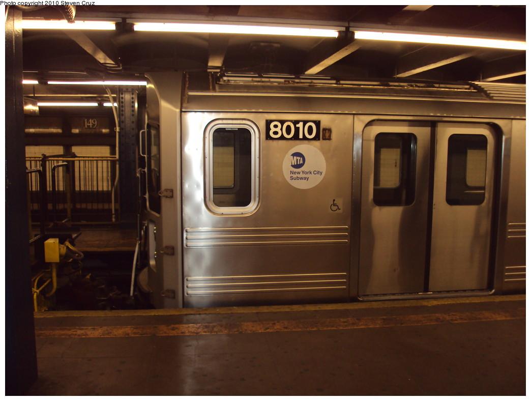 (189k, 1044x788)<br><b>Country:</b> United States<br><b>City:</b> New York<br><b>System:</b> New York City Transit<br><b>Line:</b> IRT Woodlawn Line<br><b>Location:</b> 149th Street/Grand Concourse <br><b>Car:</b> R-110A (Kawasaki, 1992) 8010 <br><b>Photo by:</b> Steven Cruz<br><b>Date:</b> 6/16/2009<br><b>Notes:</b> Being moved from 239th to Concourse Yard.<br><b>Viewed (this week/total):</b> 4 / 3359