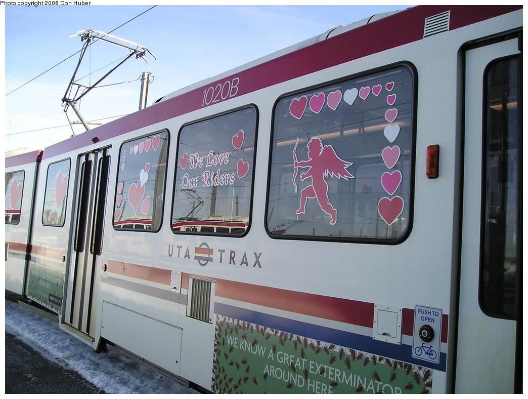 (225k, 1044x788)<br><b>Country:</b> United States<br><b>City:</b> Salt Lake City, UT<br><b>System:</b> TRAX<br><b>Car:</b>  1020 <br><b>Photo by:</b> Don Huber<br><b>Date:</b> 1/28/2008<br><b>Notes:</b> Special Valentine's Day livery.<br><b>Viewed (this week/total):</b> 2 / 2070