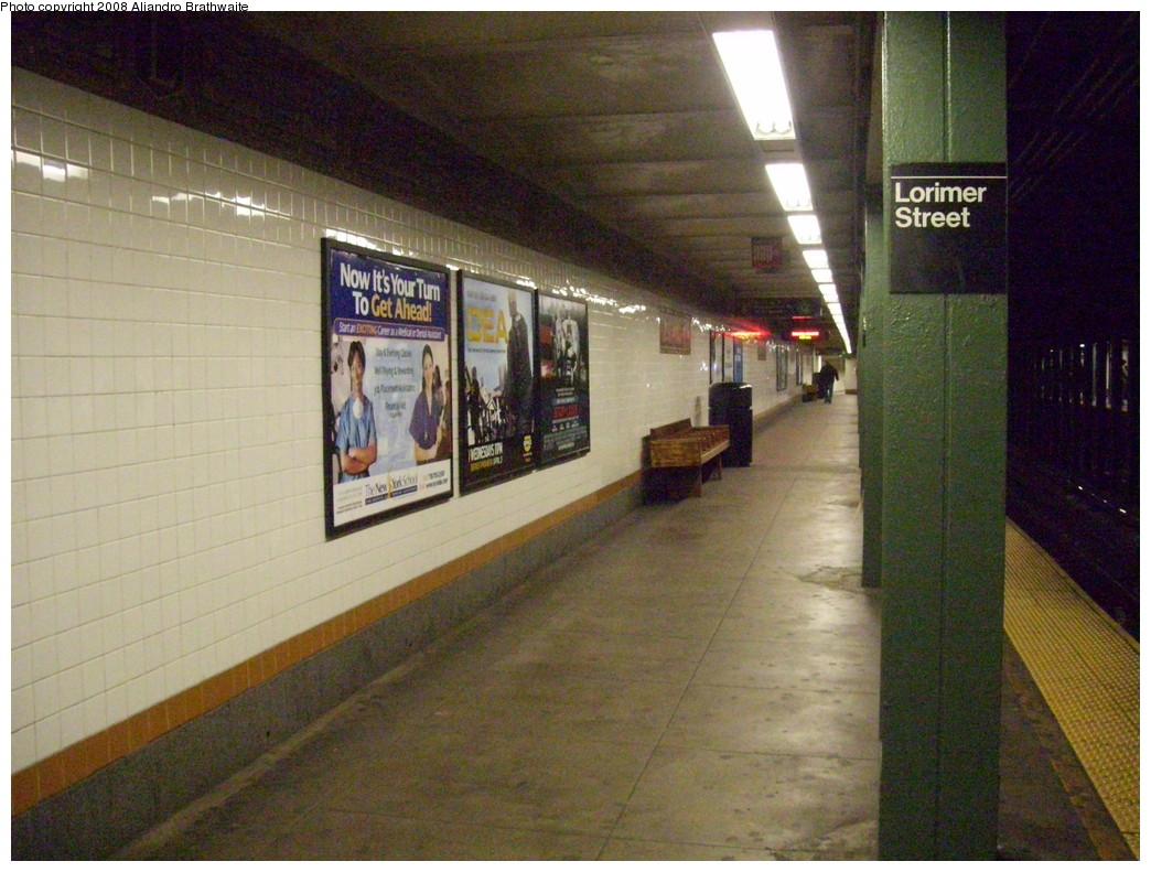 (251k, 1044x791)<br><b>Country:</b> United States<br><b>City:</b> New York<br><b>System:</b> New York City Transit<br><b>Line:</b> BMT Canarsie Line<br><b>Location:</b> Lorimer Street <br><b>Photo by:</b> Aliandro Brathwaite<br><b>Date:</b> 3/22/2008<br><b>Notes:</b> Platform view.<br><b>Viewed (this week/total):</b> 4 / 1952