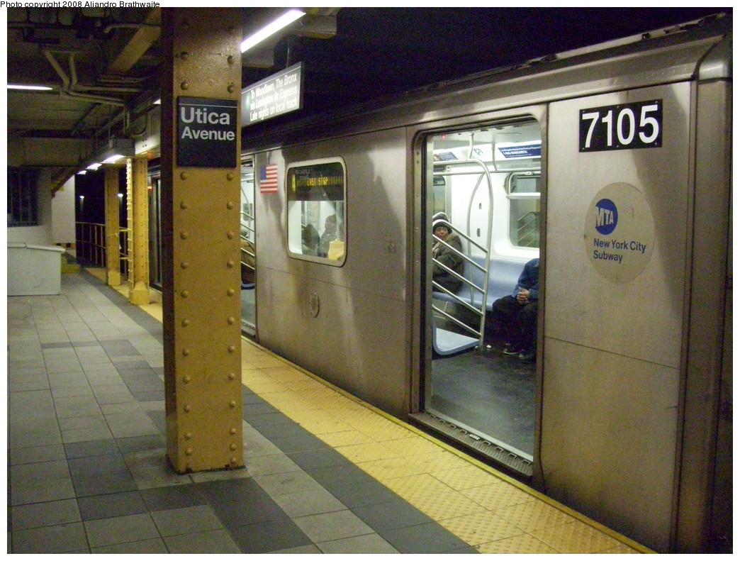 (264k, 1044x791)<br><b>Country:</b> United States<br><b>City:</b> New York<br><b>System:</b> New York City Transit<br><b>Line:</b> IRT Brooklyn Line<br><b>Location:</b> Utica Avenue <br><b>Route:</b> 4<br><b>Car:</b> R-142 (Option Order, Bombardier, 2002-2003)  7105 <br><b>Photo by:</b> Aliandro Brathwaite<br><b>Date:</b> 3/22/2008<br><b>Viewed (this week/total):</b> 3 / 3731