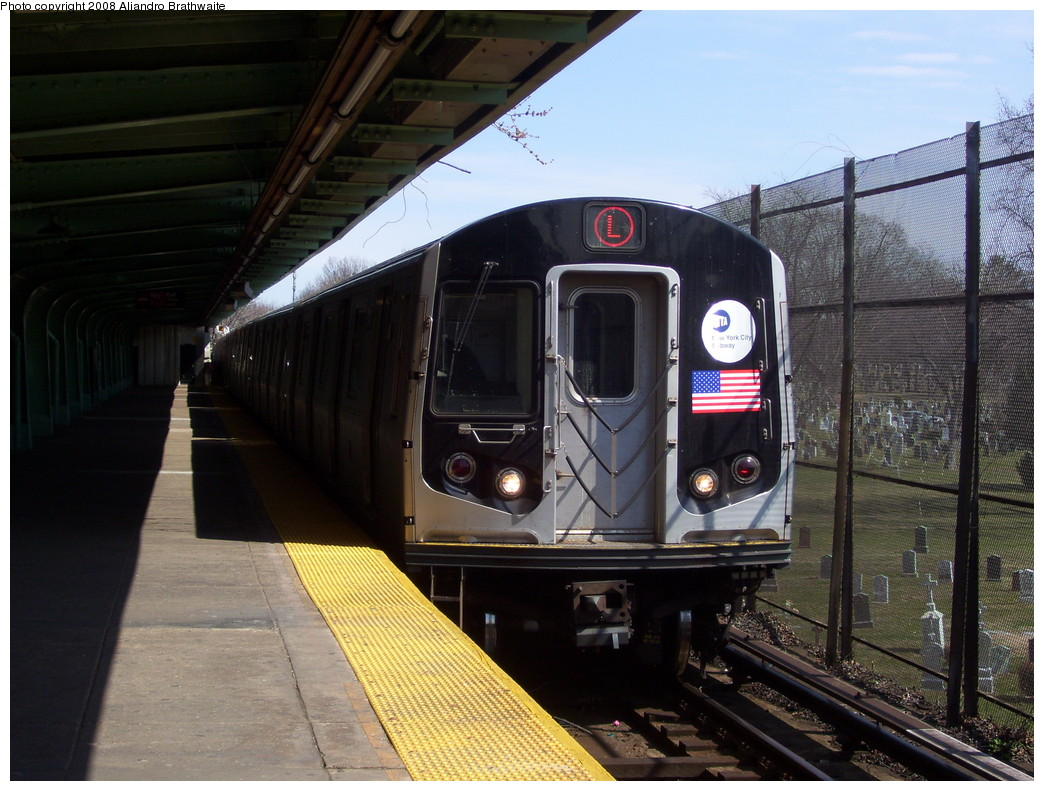 (242k, 1044x791)<br><b>Country:</b> United States<br><b>City:</b> New York<br><b>System:</b> New York City Transit<br><b>Line:</b> BMT Canarsie Line<br><b>Location:</b> Wilson Avenue <br><b>Route:</b> L<br><b>Car:</b> R-143 (Kawasaki, 2001-2002) 8157 <br><b>Photo by:</b> Aliandro Brathwaite<br><b>Date:</b> 3/22/2008<br><b>Viewed (this week/total):</b> 0 / 2693