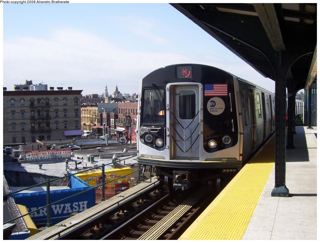 (246k, 1044x791)<br><b>Country:</b> United States<br><b>City:</b> New York<br><b>System:</b> New York City Transit<br><b>Line:</b> BMT Myrtle Avenue Line<br><b>Location:</b> Wyckoff Avenue <br><b>Route:</b> M<br><b>Car:</b> R-160A-1 (Alstom, 2005-2008, 4 car sets)  8323 <br><b>Photo by:</b> Aliandro Brathwaite<br><b>Date:</b> 3/22/2008<br><b>Viewed (this week/total):</b> 0 / 3187