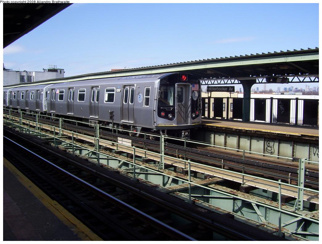 (256k, 1044x791)<br><b>Country:</b> United States<br><b>City:</b> New York<br><b>System:</b> New York City Transit<br><b>Line:</b> BMT Myrtle Avenue Line<br><b>Location:</b> Knickerbocker Avenue <br><b>Route:</b> M<br><b>Car:</b> R-160A-1 (Alstom, 2005-2008, 4 car sets)  8397 <br><b>Photo by:</b> Aliandro Brathwaite<br><b>Date:</b> 3/22/2008<br><b>Viewed (this week/total):</b> 0 / 2151