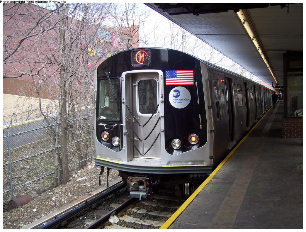 (322k, 1044x791)<br><b>Country:</b> United States<br><b>City:</b> New York<br><b>System:</b> New York City Transit<br><b>Line:</b> BMT Myrtle Avenue Line<br><b>Location:</b> Metropolitan Avenue <br><b>Route:</b> M<br><b>Car:</b> R-160A-1 (Alstom, 2005-2008, 4 car sets)  8405 <br><b>Photo by:</b> Aliandro Brathwaite<br><b>Date:</b> 3/22/2008<br><b>Viewed (this week/total):</b> 0 / 2832