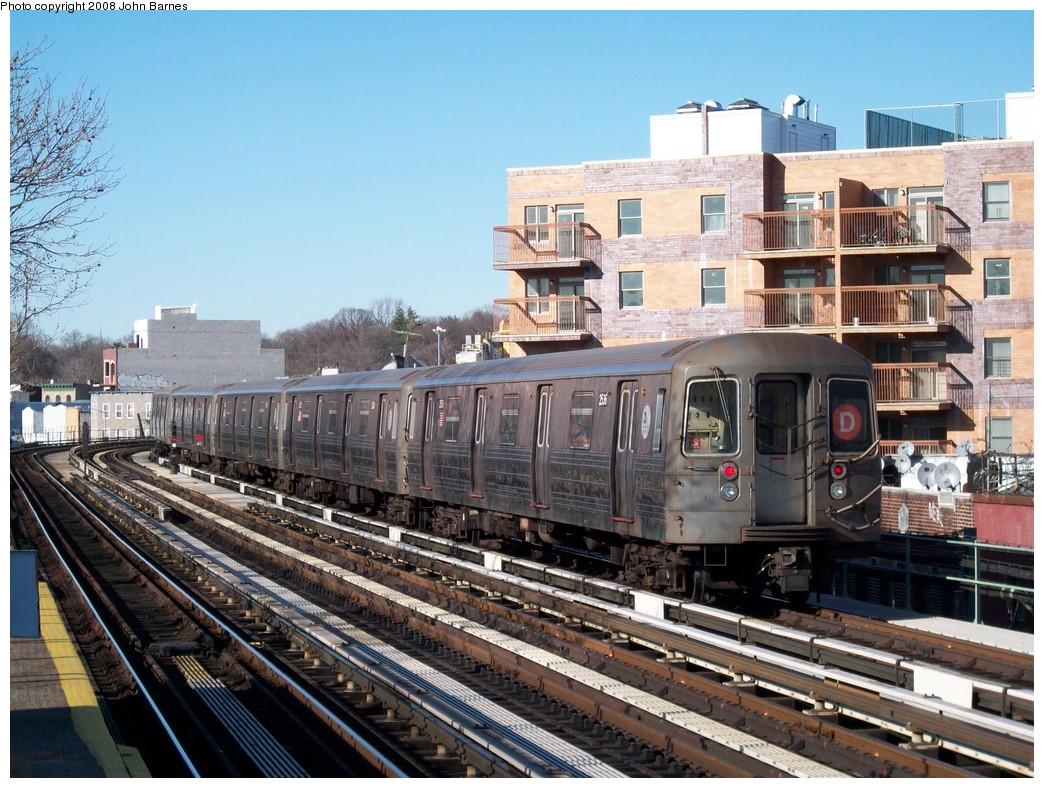 (268k, 1044x788)<br><b>Country:</b> United States<br><b>City:</b> New York<br><b>System:</b> New York City Transit<br><b>Line:</b> BMT West End Line<br><b>Location:</b> Fort Hamilton Parkway <br><b>Route:</b> D<br><b>Car:</b> R-68 (Westinghouse-Amrail, 1986-1988)  2536 <br><b>Photo by:</b> John Barnes<br><b>Date:</b> 3/17/2008<br><b>Viewed (this week/total):</b> 0 / 1834