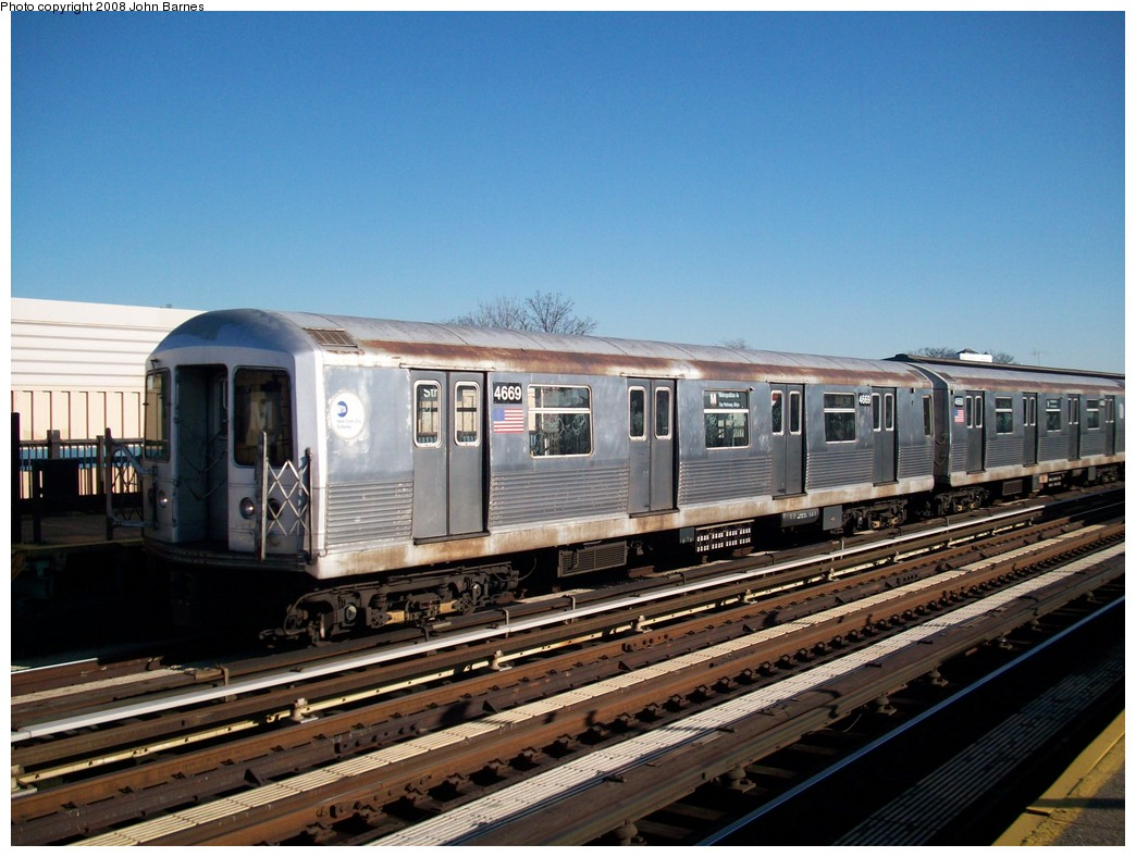 (215k, 1044x788)<br><b>Country:</b> United States<br><b>City:</b> New York<br><b>System:</b> New York City Transit<br><b>Line:</b> BMT West End Line<br><b>Location:</b> 55th Street <br><b>Route:</b> M<br><b>Car:</b> R-42 (St. Louis, 1969-1970)  4669 <br><b>Photo by:</b> John Barnes<br><b>Date:</b> 3/17/2008<br><b>Viewed (this week/total):</b> 1 / 1615