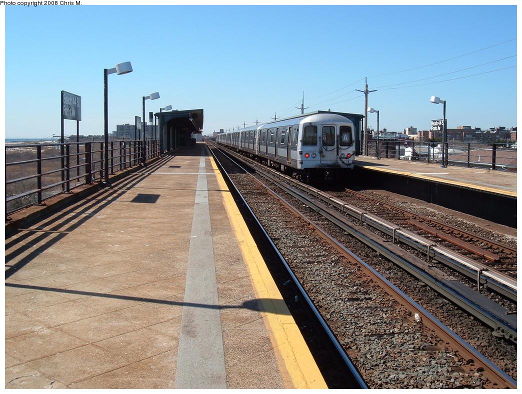 (291k, 1044x788)<br><b>Country:</b> United States<br><b>City:</b> New York<br><b>System:</b> New York City Transit<br><b>Line:</b> IND Rockaway<br><b>Location:</b> Beach 44th Street/Frank Avenue <br><b>Route:</b> A<br><b>Car:</b> R-44 (St. Louis, 1971-73)  <br><b>Photo by:</b> Chris M.<br><b>Date:</b> 3/17/2008<br><b>Viewed (this week/total):</b> 0 / 1281