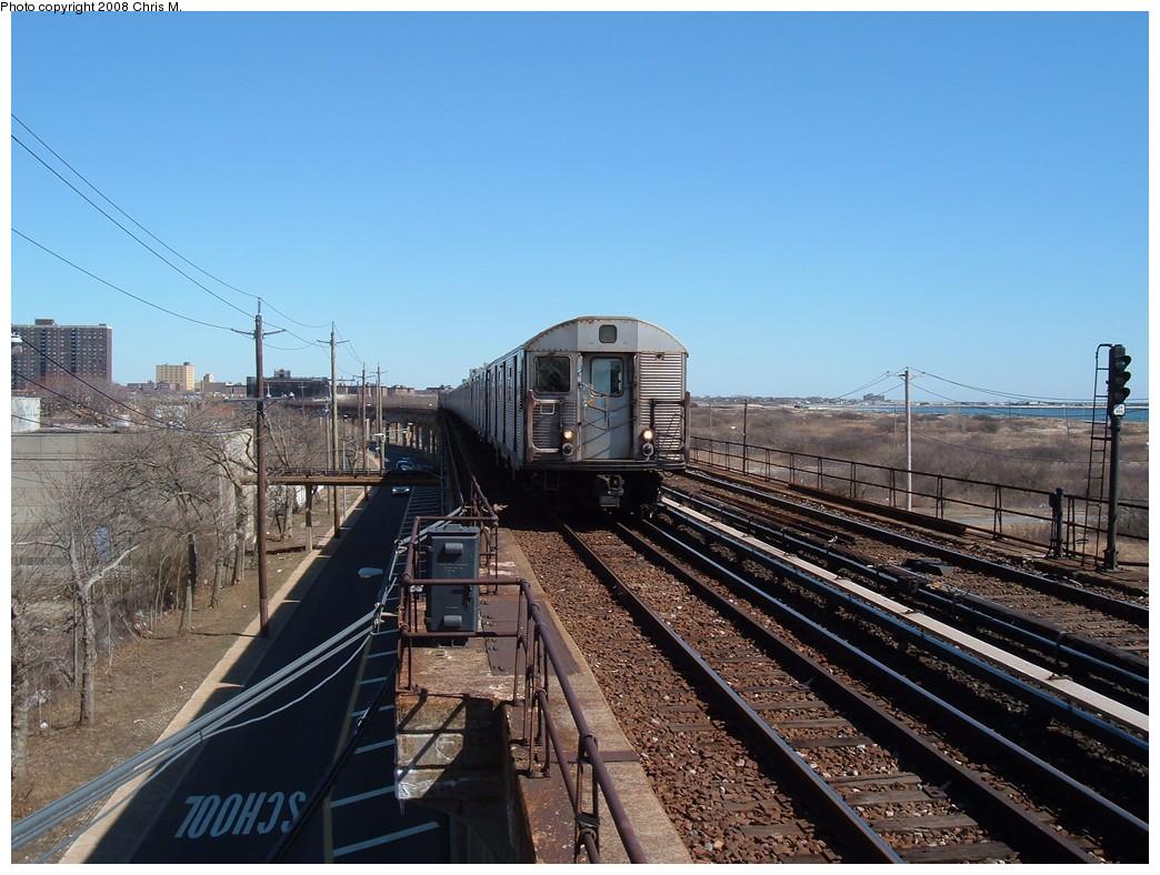 (245k, 1044x788)<br><b>Country:</b> United States<br><b>City:</b> New York<br><b>System:</b> New York City Transit<br><b>Line:</b> IND Rockaway<br><b>Location:</b> Beach 44th Street/Frank Avenue <br><b>Route:</b> A<br><b>Car:</b> R-32 (Budd, 1964)  3822 <br><b>Photo by:</b> Chris M.<br><b>Date:</b> 3/17/2008<br><b>Viewed (this week/total):</b> 1 / 1523
