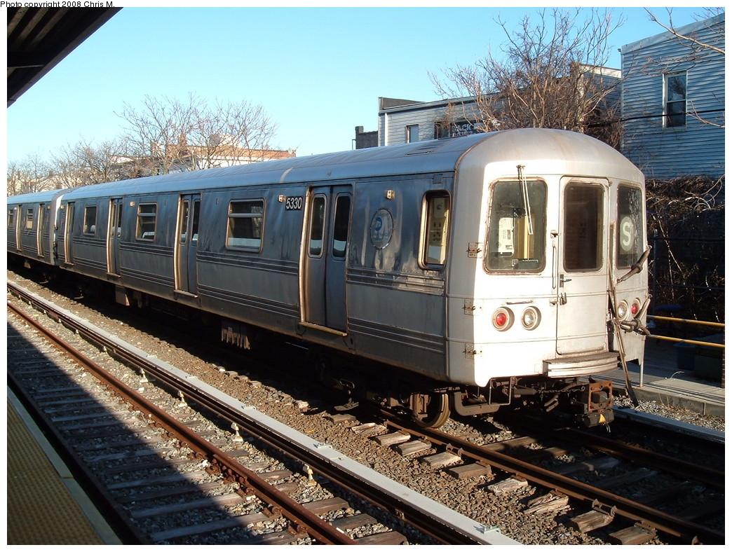 (300k, 1044x788)<br><b>Country:</b> United States<br><b>City:</b> New York<br><b>System:</b> New York City Transit<br><b>Location:</b> Rockaway Park Yard<br><b>Car:</b> R-44 (St. Louis, 1971-73) 5330 <br><b>Photo by:</b> Chris M.<br><b>Date:</b> 3/17/2008<br><b>Viewed (this week/total):</b> 0 / 1407