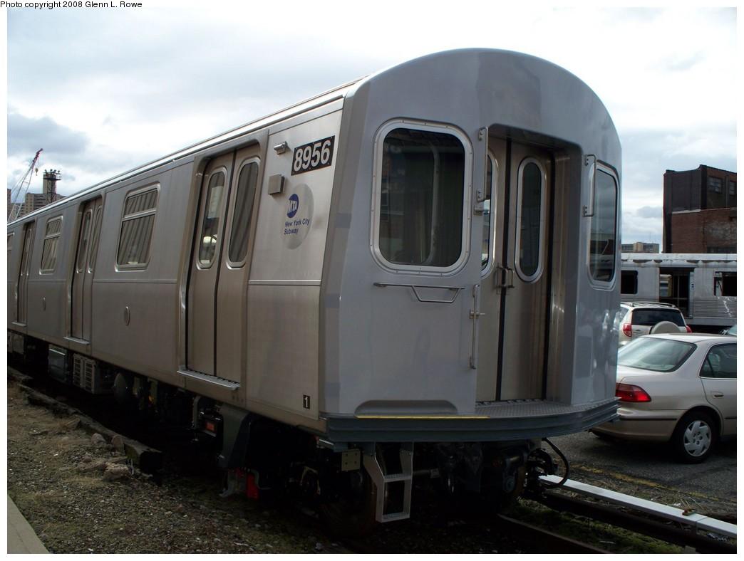 (171k, 1044x788)<br><b>Country:</b> United States<br><b>City:</b> New York<br><b>System:</b> New York City Transit<br><b>Location:</b> 207th Street Yard<br><b>Car:</b> R-160B (Kawasaki, 2005-2008)  8956 <br><b>Photo by:</b> Glenn L. Rowe<br><b>Date:</b> 3/20/2008<br><b>Viewed (this week/total):</b> 0 / 2883